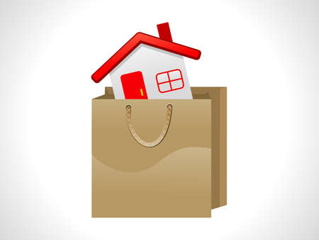 shoping bag: abstract home shoping  vector illustration