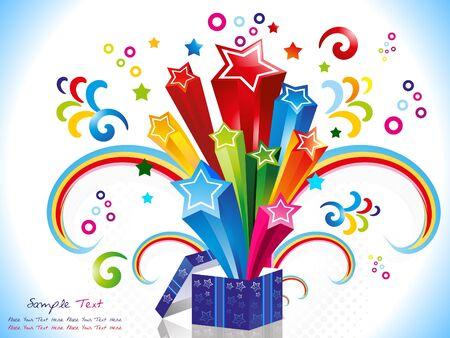 surprise box: abstract colorful magic box vector illustration