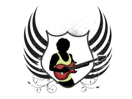 governmental: Escudo musical abstracto con ilustraci�n vectorial de guitarra