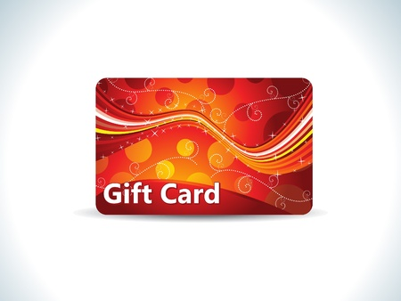 prepaid card: abstract red gift card vector illustration