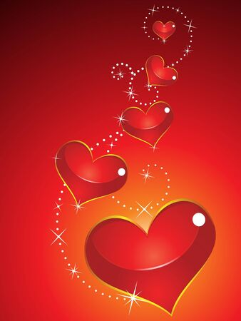 corazones: abstract glossy red heart vector illustration Illustration