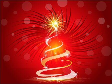 xmas linework: christmas tree with sparkle vector illustration