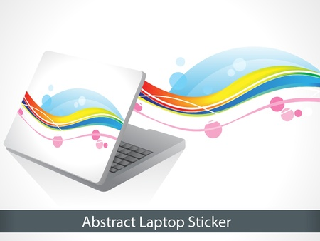 abstract colorful laptop sticker vector illustration Stock Vector - 9086189
