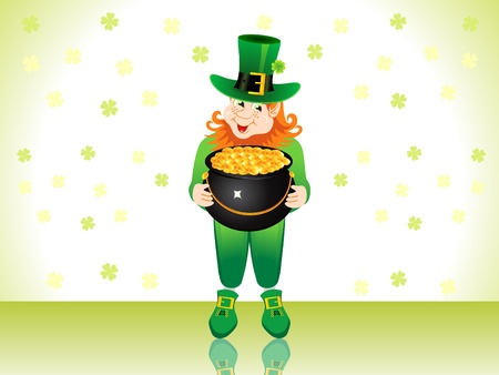 st patricks leprechaun with money pot vector illustration Vector