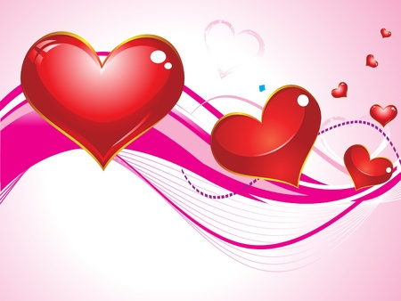 abstract  heart with wave in pink backgournd Stock Vector - 9132455