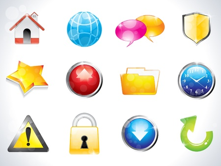 abstract glossy web icons vector illustration  Vector