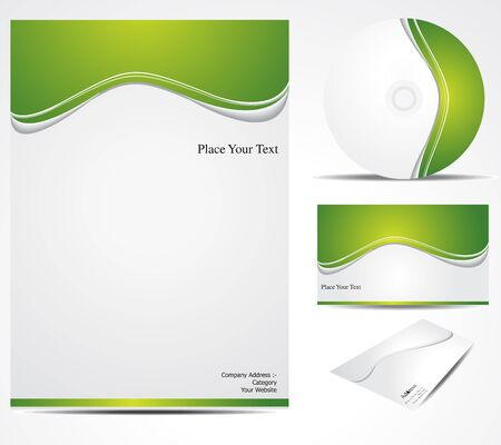 layout template: abstract green corporate id vector illustration