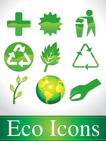 abstract green glossy eco icons vector illustration  Vector