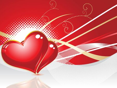 abstract red heart with wave vector illustration Stock Vector - 9132379