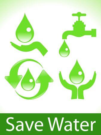 ahorrar agua: Resumen verde guardar la ilustraci�n vectorial de agua iconos