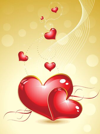 valentine heart with gold background vector illustration
