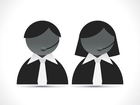 headset business: astratto chiamata assistere icona illustrazione vettoriale