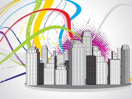 abstract colorful city vector illustration Illustration
