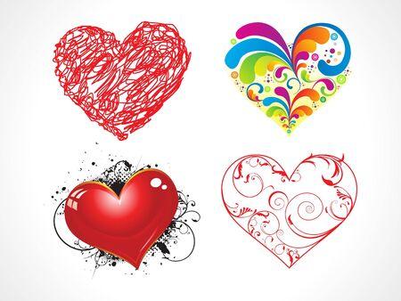 abstract heart set vector illustration