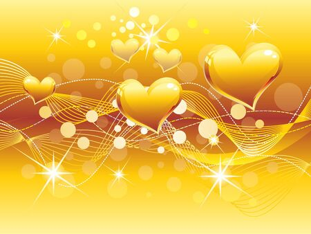 love and friendship: abstract golden heart background vector illustration Illustration