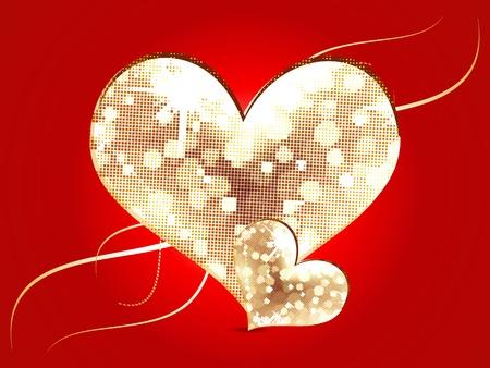 febuary love glossy shiny creative: abstract moasic heart vector illustration Illustration