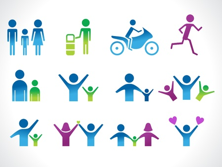 people symbols: abstract people icon vector illustration