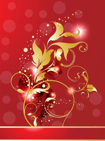 abstract golden glossy red floral  vector illustration Vector