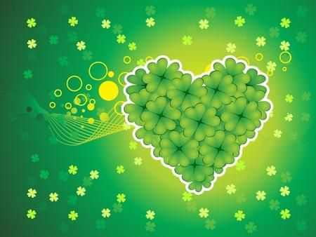 17 march: abstract st patricks clover heart vector illustration Illustration