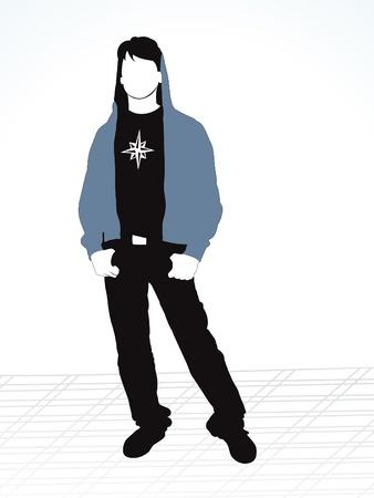 retro wear: abstract style boy silhouette vector illustration  Illustration