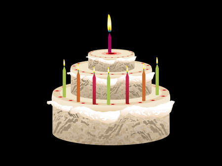 abstract birthday cake with candles vector illustration Stock Vector - 9301343