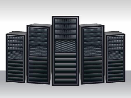datacenter: a unique server station vector illustration