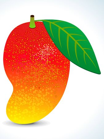 red juicy mango with leaf vector illustration Vector