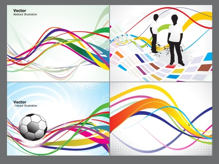 abstract colorful wave background set vector illustration Vector