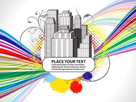 citylife: abstract colorful building with grunge vector illustration Illustration