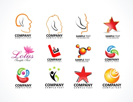 advertising logo: abstract multiple business ideas vector illustration