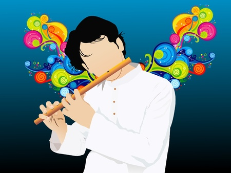colurful: abstract colurful musical silhouette with flute vector illustration