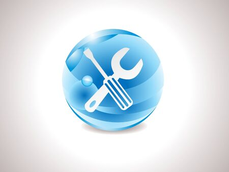 abstract glossy blue tools icon vector illustration