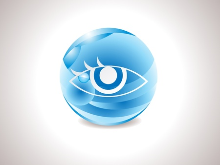 bright eyes: abstract glossy blue vision icon vector illustration