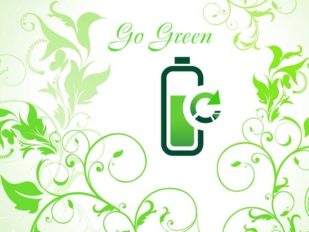 abstract green eco background with battery icon Vector