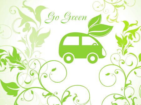 abstract green eco background with car Stock Vector - 9509248