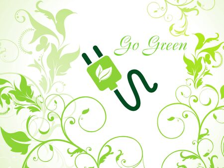 abstract green floral background with plug  Vector