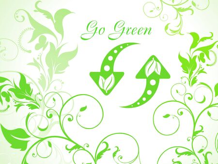 abstract green floral background with refresh icon  Vector