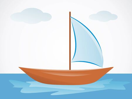 abstract summer boat with sea Stock Vector - 9509227