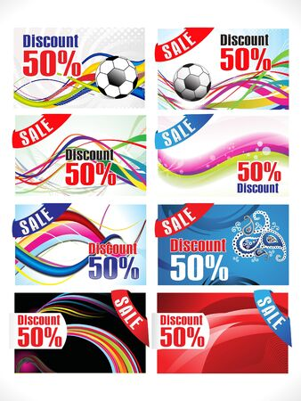 discount card: abstract multiple colorful discount card Illustration