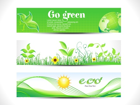commercial recycling: abstract eco web header set vector illustration Stock Photo