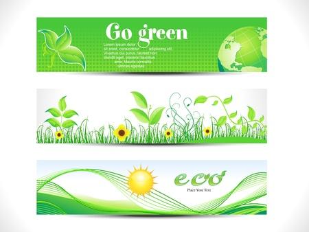 abstract eco web header set vector illustration Stock Illustration - 9551830