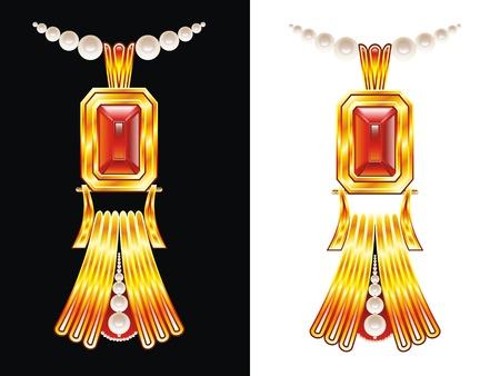 abstract golden neckless vector illustration Stock Illustration - 9551827
