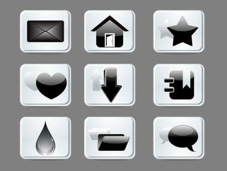 abstract glossy web icon set vector illustration illustration