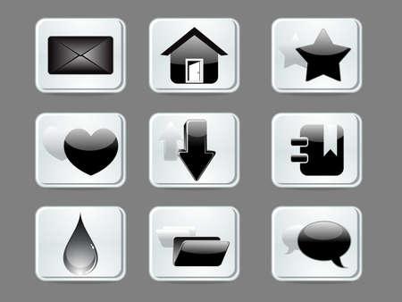 abstract glossy web icon set vector illustration illustration
