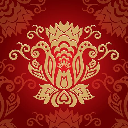 abstract red golden floral background  vector illustration Vector