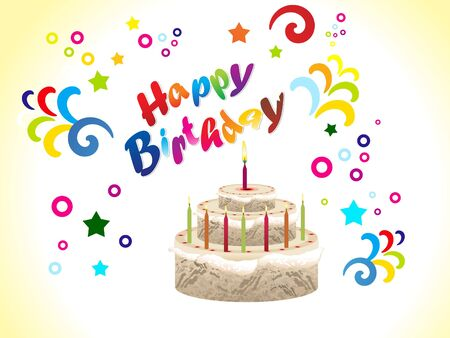 happy new year text: abstract birthday card with cake vector illustration Illustration