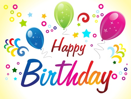 tarjeta de cumpleaños abstracto con ilustración vectorial de texto