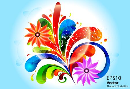 ful: abstract color ful floral with florwer vector illustration