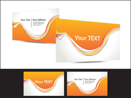 abstract orange based business card template vector illustration Vector