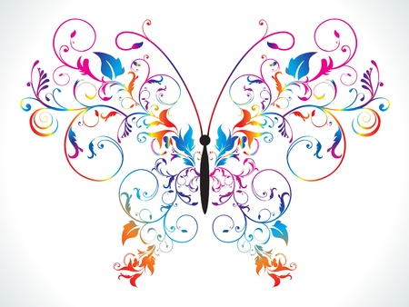 floral vector: abstract colorful rainbow floral butterfly vector illustration